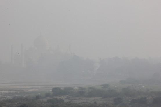 朝霧に浮かぶタージマハル