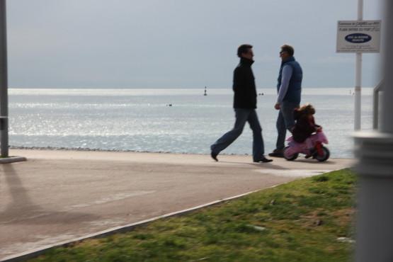 海辺を散歩している人は多い