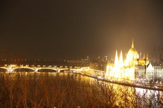ハンガリーのブタペストの夜景とドナウ川と